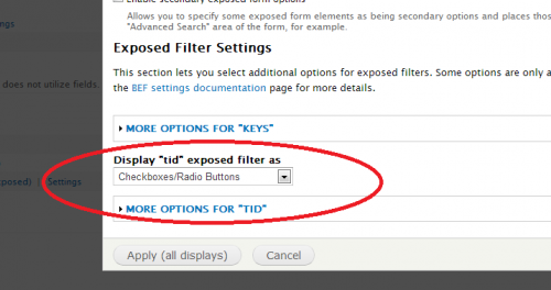 drupal views taxonomy term exposed filter checkbox