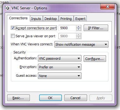 RealVNC Server, Android Viewer – Server did not offer supported